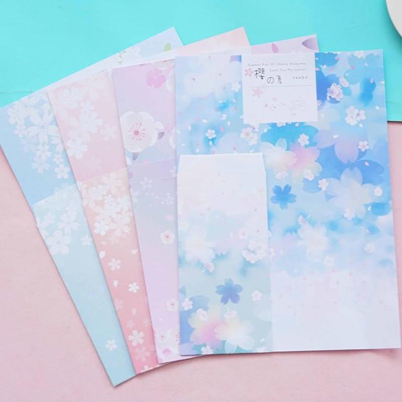 9 Pcs/pack Lovely 3 Envelopes+6 Sheets Letters Cherry Sakura Flower Paper Writing Envelopes Letters Set Gift DIY Stationery