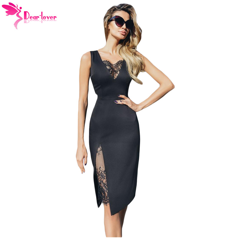 99f3146ff Dear Lover Summer Women Dress 2019 Sexy Party Black V-neck Lace Insert  Sleeveless Midi