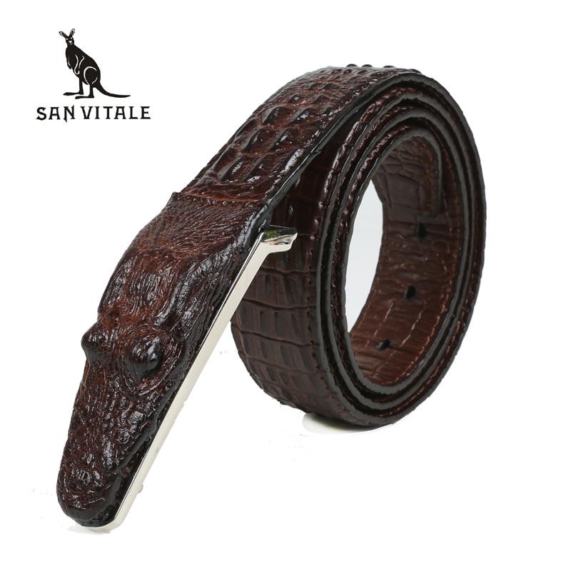 SAN VITALE 3D crocodile famous brand Leather   Belt   Designer Men   Belts   Luxury Brand smooth Buckle   Belts   For man ceinture homme