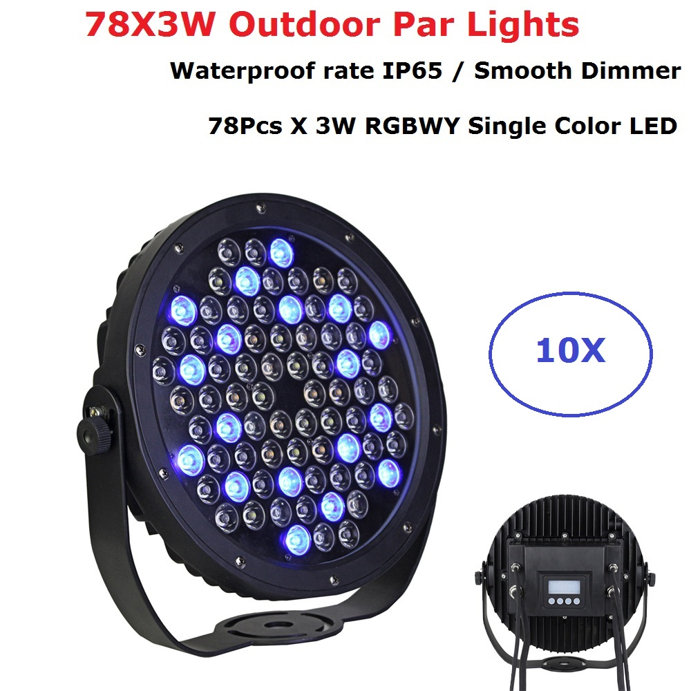 10Pcs/Lot Free Shipping 78X3W Outdoor Flat LED Par Lights RGBWY Color Mixing Dj Wash Lights Stage Uplighting KTV Disco Dj Lights Stage Lighting Effect     - title=