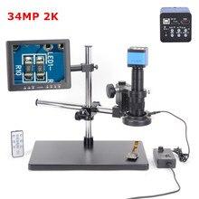34MP 2K 1080P 60FPS HDMI USB Digital Industrial Microscope Camera 180X C-MOUNT Lens Zoom 60 LED For Phone PCB Repair Soldering цена в Москве и Питере