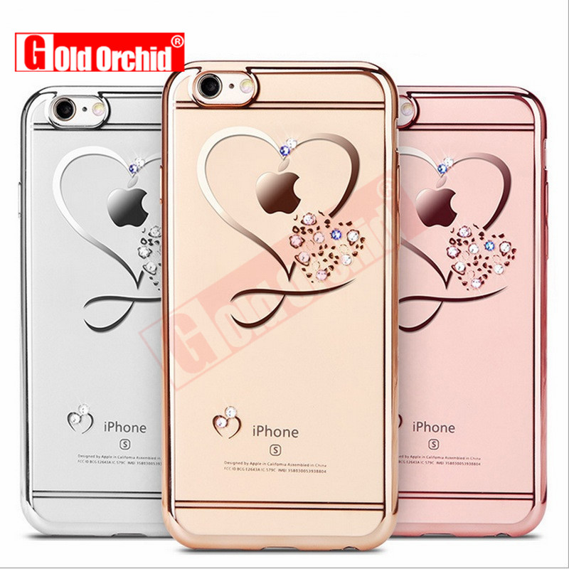 best loved 41a86 c559d For Iphone 6 Case Ultra Thin Clean Soft TPU Crystal Phone Cases Rose  Plating Glitter Diamond Cover For Iphone 6S 6 Plus 7 Plus