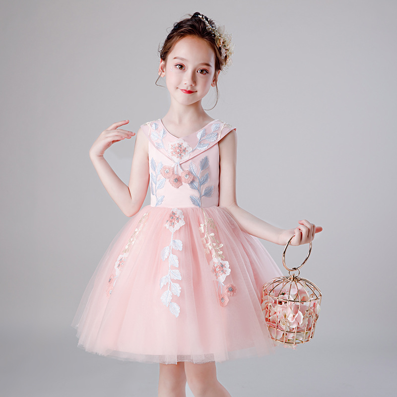 It's YiiYa   Flower     Girl     Dress   for Wedding Pink Lace   Flower   Embroidery Tulle Communion Gown V-Neck Kid Party   Dress   2019 DK1718