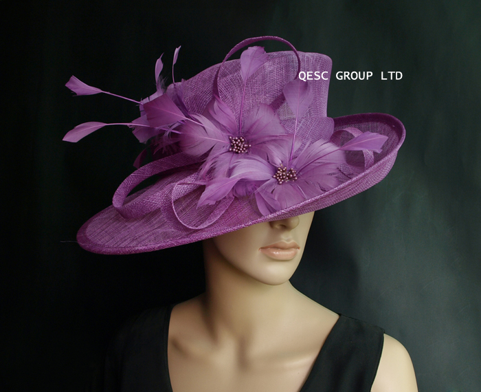 1ee175645b4c1 NEW Crocus purple Sinamay Hat formal dress hat with feathers flower for  kentucky derby.wedding church. FREE SHIPPING-in Fedoras from Apparel  Accessories on ...