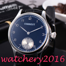 44mm CORGEUT Black Dial Stainless Steel case Luxury Brand Hand Winding Mechanical 6498 movement Men s