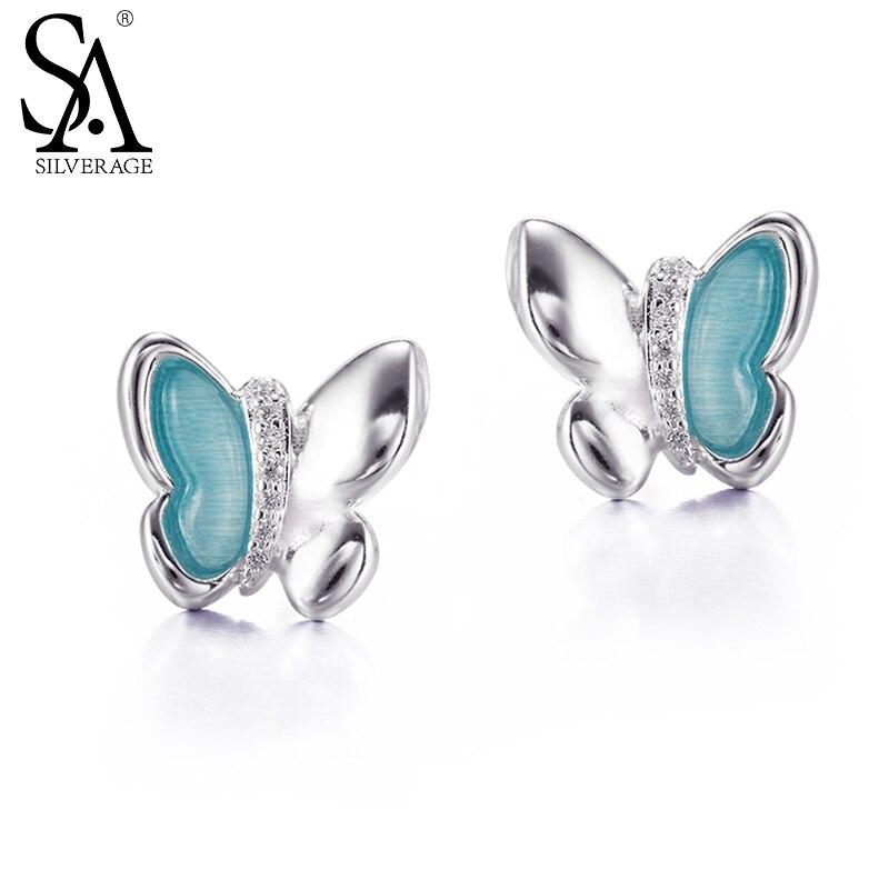 Sa silverage Настоящее стерлингового серебра 925 Серьги-гвоздики милые животные голубая бабочка Серьги-гвоздики свадебные подарки половина циркон для влюбленных
