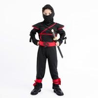 Children Classic Black Ninja Cosplay Costume Halloween Party Warrior Assassin Image Jumpsuit Super Cool Boys Kids