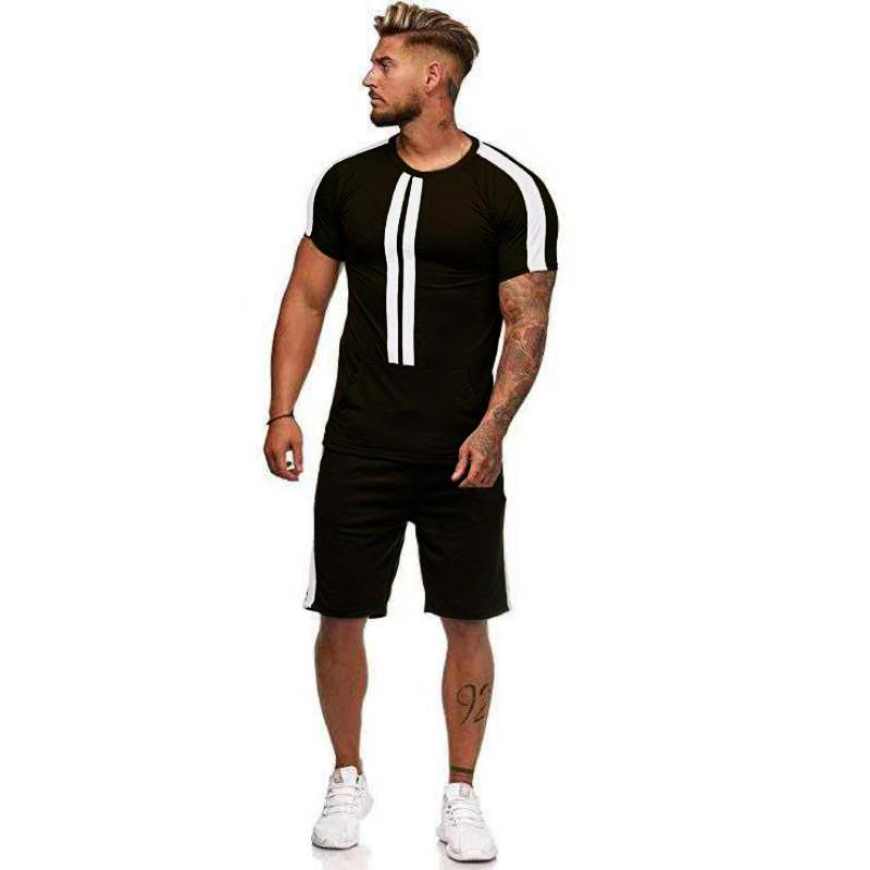 Summer new cotton two-piece men's short-sleeved suit men's sportswear casual fashion T-shirt quality large size men T-shirt suit