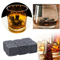 6pcs 100% Natural Whiskey Champagne Stones Sipping Ice Cube Whisky Stone Whisky Rock Cooler Wedding Gift Favor Christmas Bar