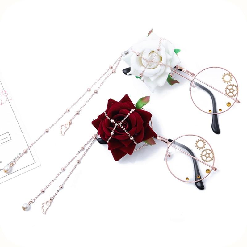 Manual Lolita Lolita Spend Glasses Pearl Gear Decorative Flat Wings Move Cos Glasses