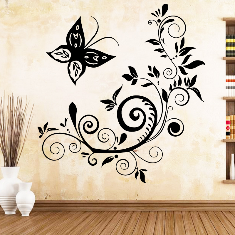 US $4.64 18% OFF Artistic Butterfly Vinyl Decals Wall Stickers Bedroom  Nursery Decoration Decoration Accessories-in Wall Stickers from Home &  Garden ...
