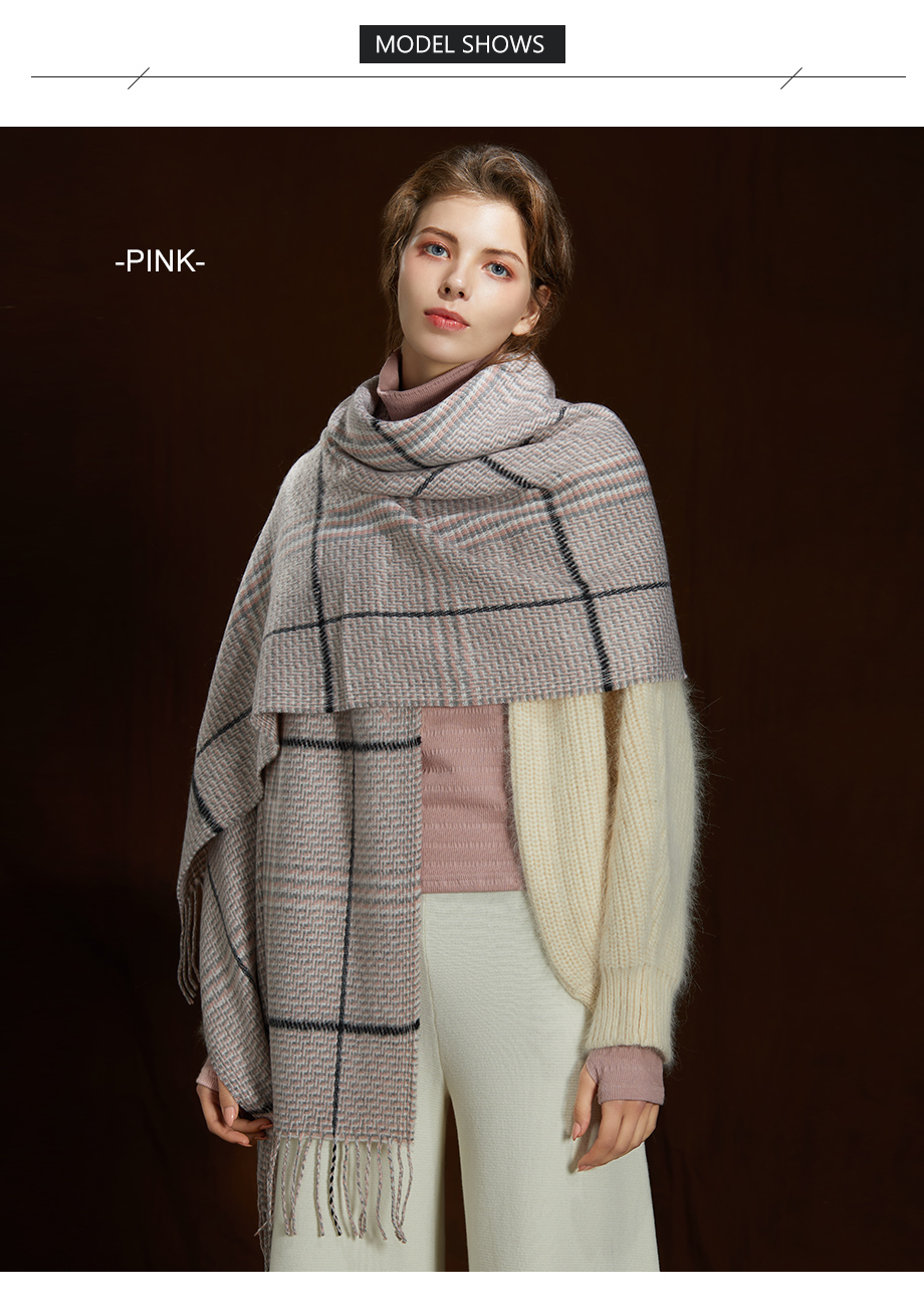2019 New Winter Autumn Wool Knitted Women Scarf Plaid Warm Cashmere Scarves Shawls Luxury Brand Neck Lady Wrap High Quality (5)