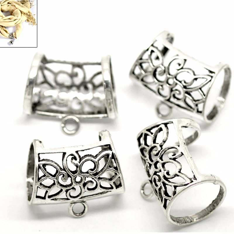 25 Pcs Silver Tone Flower Hollow Out Bail Beads For Wrap Scarf Jewelry Finding Component 3.3x2.8cm ...