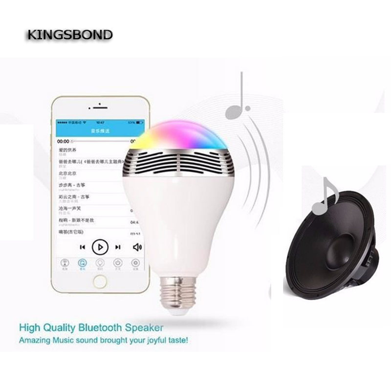2 in 1 LED Light Bulb Lamp & Wireless Bluetooth 4.0 Speaker E27 Base Music Player Sound Box Lighting with APP smartphone wireless bluetooth speaker e27 led light bulb stereo surround music sound box speaker for iphone ipad samsung galaxy