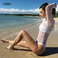 ORMELL Branco Sexy Bodysuit Mulheres 2017 Oco Out Perspectiva Backless Verão Playsuit Romper Jumpsuit Manga Longa Geral