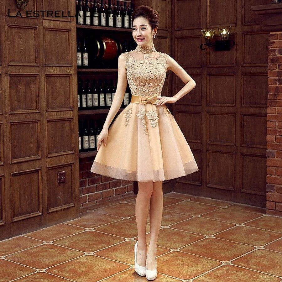 Pretty Wedding Dresses: Vestido Madrinha2018 High Neck Lace Fluffy Gold Bridesmaid