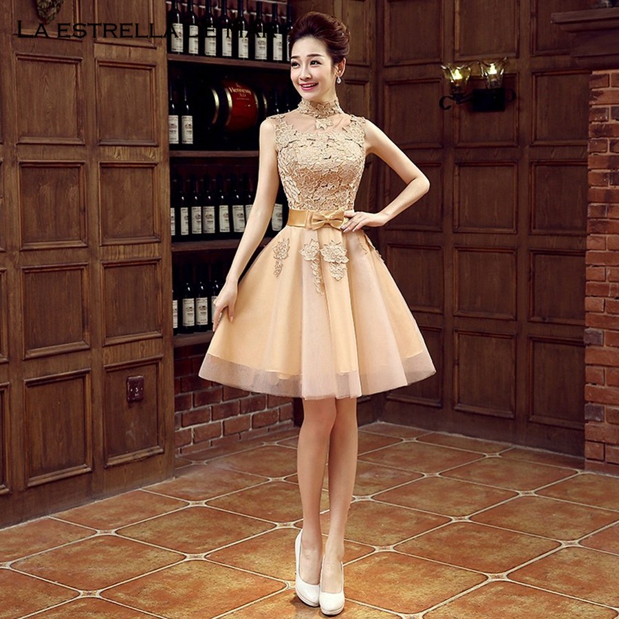 Vestido Invitada High Neck Lace Fluffy Gold Bridesmaid Dresses Short Ropee Demoiselle D Honneur Pretty Wedding Party Gown