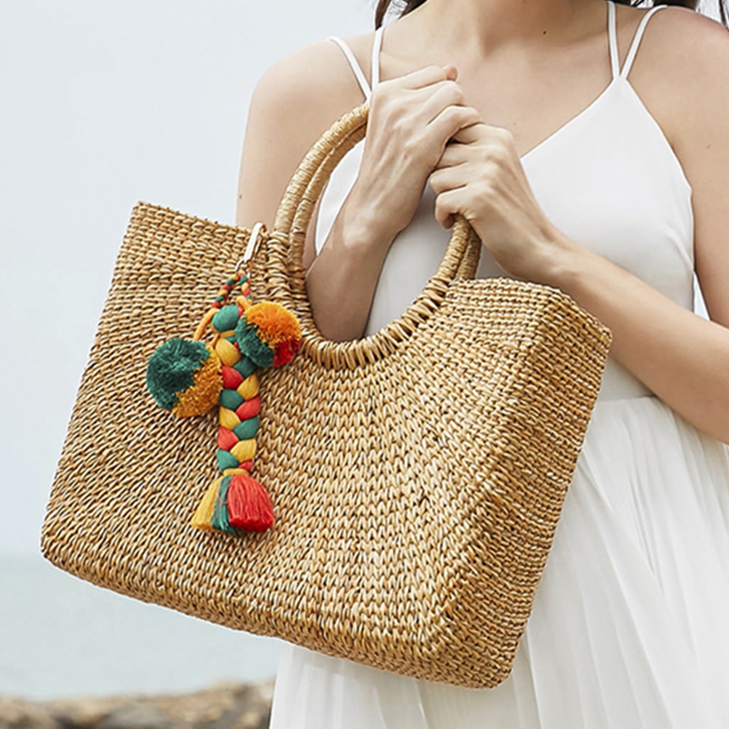 MANILAI Bohemian Handmade Weaving Bag Pendant Women Charm Pompom Multicolor Cotton Tassels Big Ball Bag Fashion Accessories
