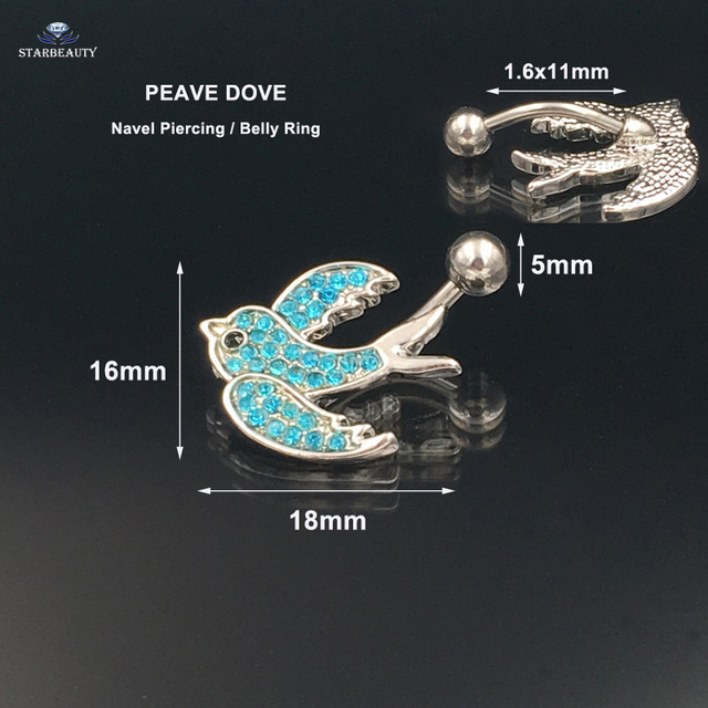 Us 1 25 45 Off 2017 Summer Style Blue Pigeon Cz Prong Set Navel Curve Non Sterile F136 Surgical Implant Grade Titanium Belly Piercing Earring In