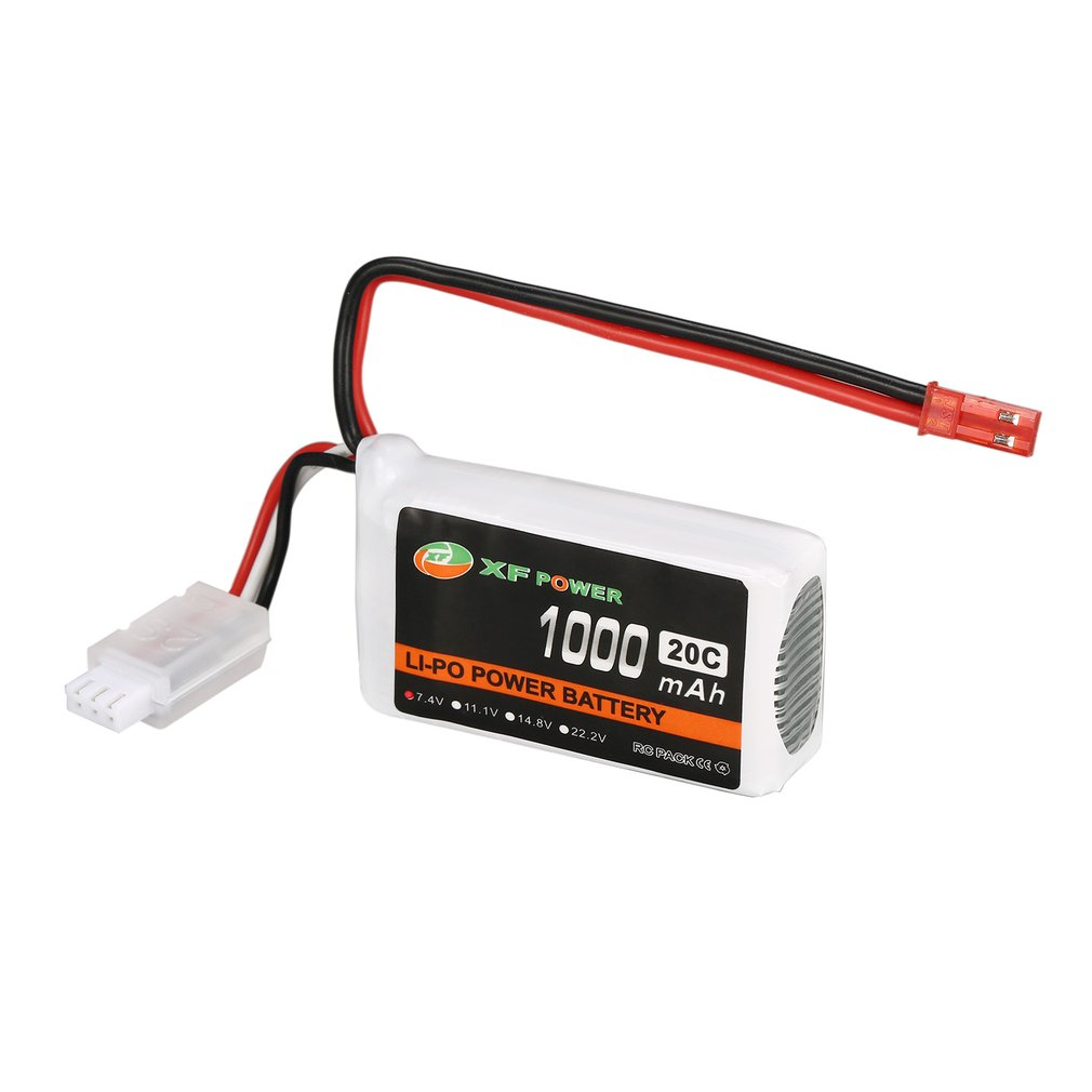 XF POWER 7.4V 1000mAh 20C 2S 2S1P Lipo Battery JST Plug Rechargeable For RC FPV Racing Drone Helicopter Car Boat Model image
