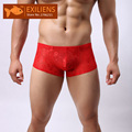 [EXILIENS] Hot Underwear Men's Shorts Boxers Sexy Lace Transparent U Low waist Top Male Brand Man Underpants GAY Size M-XL