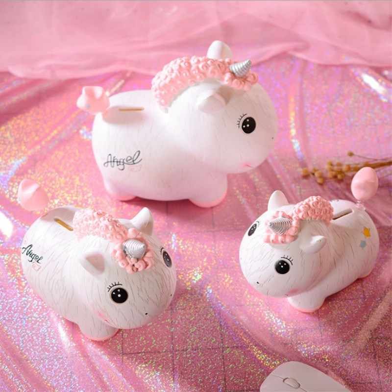 Creative Size  Money Box Piggy Bank Resin Ornaments Children Cartoon Animal Money Jar Girl Gifts Home Decoration