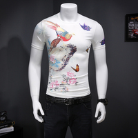Mens T Shirts Fashion White T Shirt O Neck Print Birds And Butterfly Short Sleeve Popular