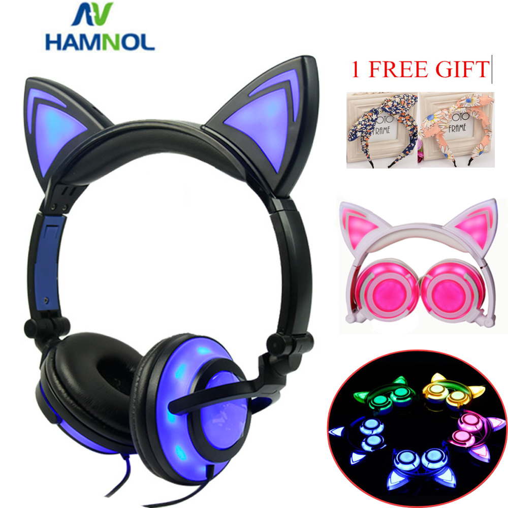 Glowing Light Cat Ear Headphones Stereo Cat Earphones 3 5mm Wired Gaming Headset for PC Gamer