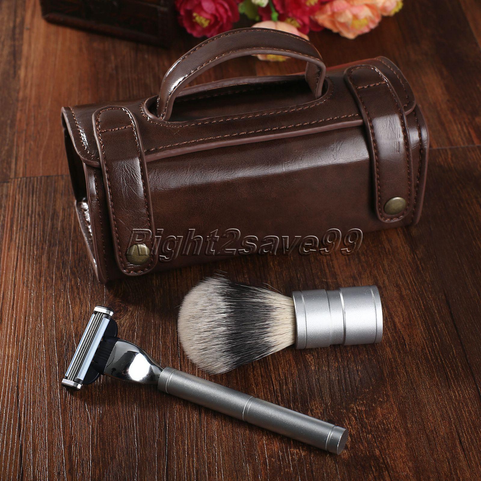 3 In 1 Shaving Set Men's Shaving Razor & Shaving Brush & Shaving Toiletry PU Leather Case SET