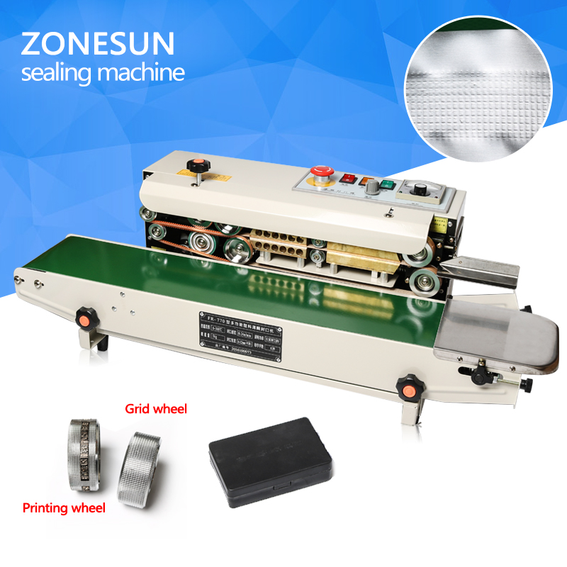 ZONESUN sealing machine plastic bag soild ink continuous band sealer sealing machine fr-770, Expanded food band sealer