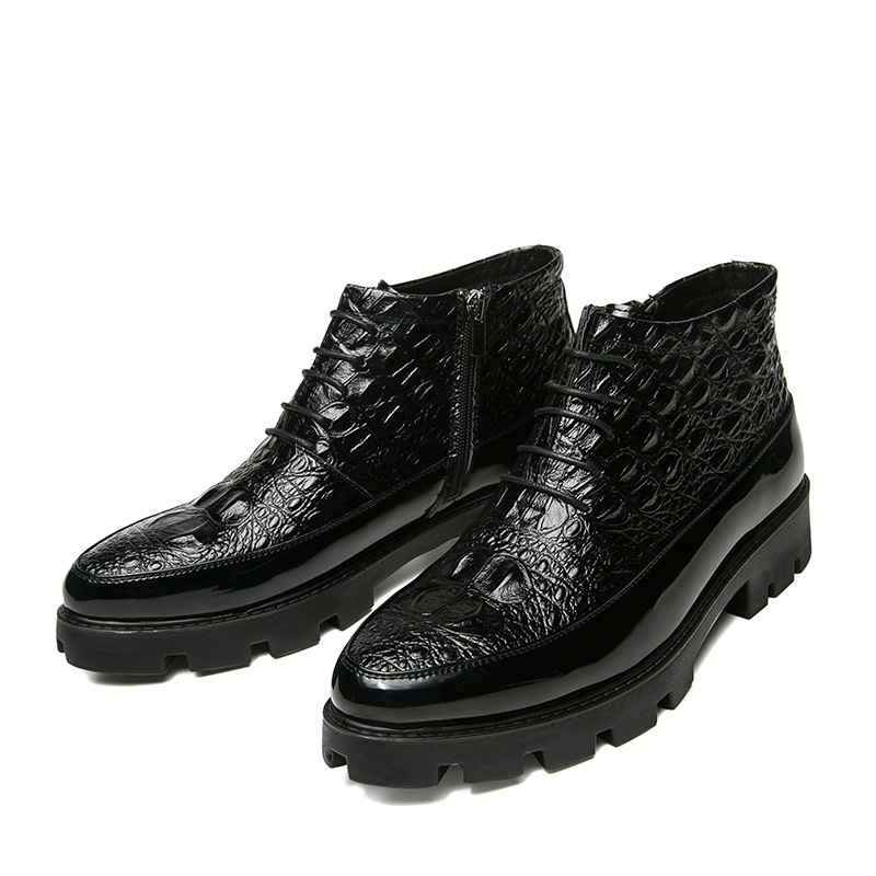 Mens casual respirant doux PU chaussures en cuir crocodile motif plate-forme shorts cheville martin moto bottes zapatos hombre mâle