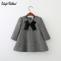 High Quality Winter Hot Sale Baby Girls Clothes Vintage Houndstooth Dress With Big Silk Bowknote Design