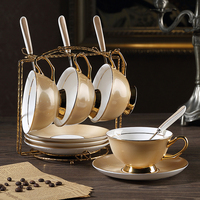 Europe High grade Bone China Coffee Cup set Luxury gold color Retro Royal family Tea Cup Set AfternoonCup and Saucer gift set
