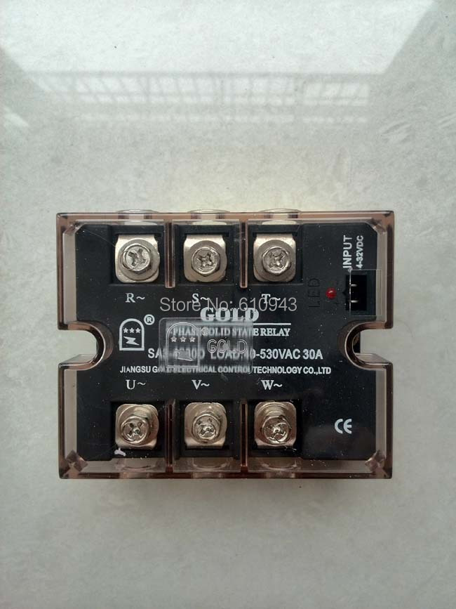 SA34030D 3 Phase Output SSR, Load 30 Amp@40~530VAC, Zero-crossing Triac output, Input 3~32VDC, Three phase Solid state relay new and original sa366250d sa3 66250d gold 3 phase solid state relay 4 32vdc 90 660vac 250a
