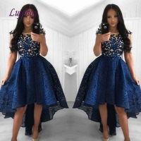 Navy Blue High Low Cocktail Dress Party Plus Size Lace Ladies Girl Women Homecoming Prom Graduation Semi Formal Dress