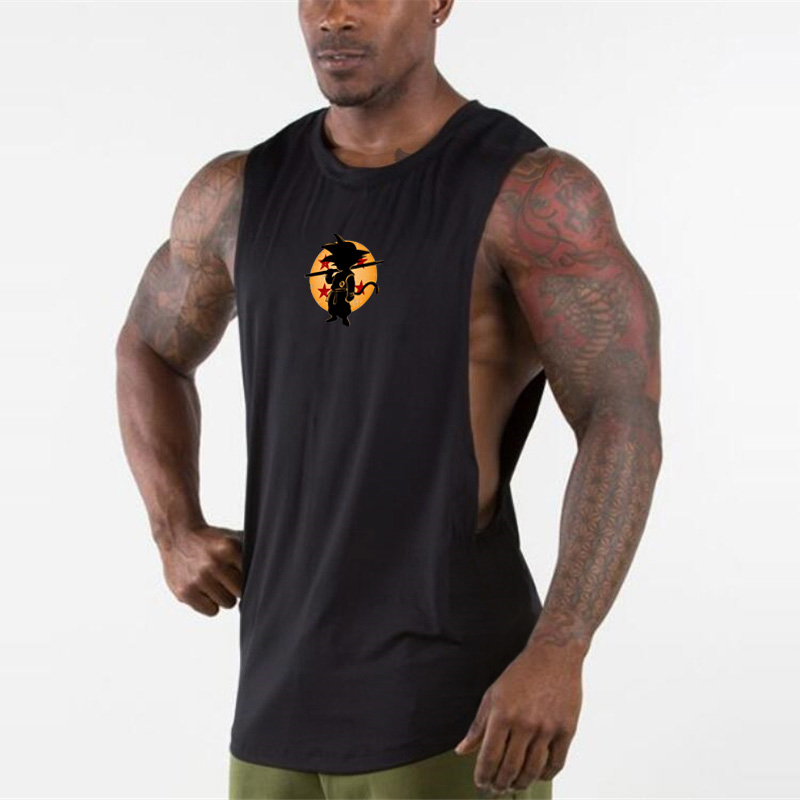 Fitness   Tank     Tops   Men Anime Drop Armhole Vest Mens Tanktop Dragon Ball Singlet Waistcoat   Tops   Brand Pullover Bodybuilding   Tank