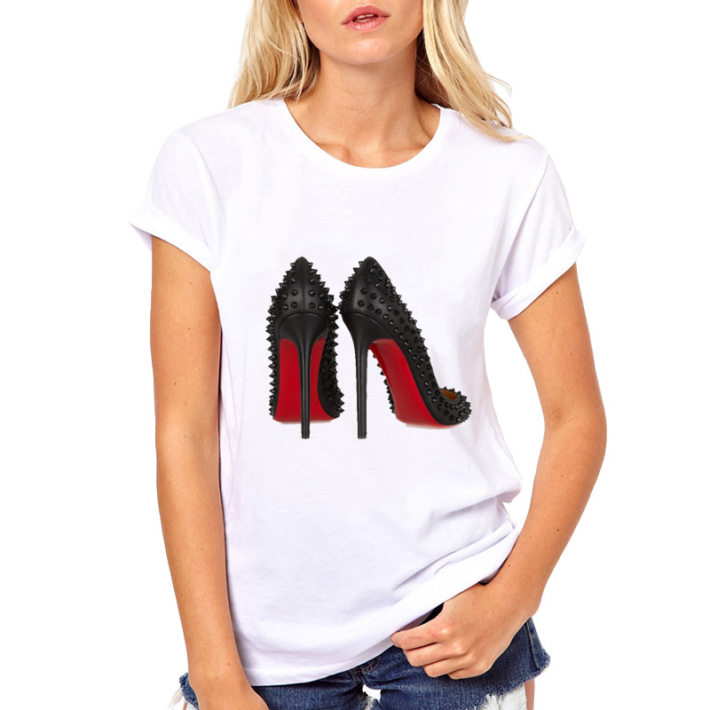 Fashion High Heels Print Funny Summer T Shirt Women Vogue Princess Short Sleeve T-Shirt Cheap Female Tops