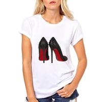 88f83b52cf4 Fashion High Heels Print Funny Summer T shirt Women Vogue Princess Short  Sleeve T-Shirt