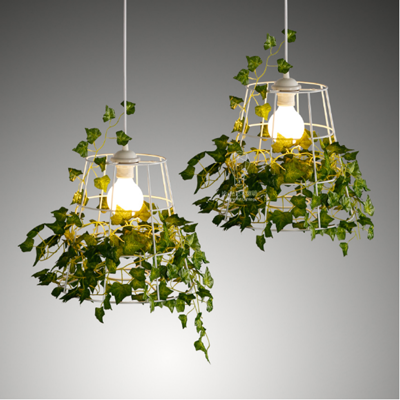 T Loft Retro Green Plant Vase Pendant Light GOLD Iron For Dining Room Restaurant Bedroom Coffee shop Living Room LED E27 bulbs