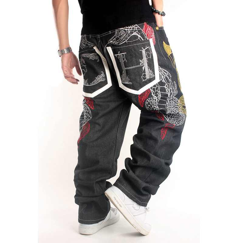 Hip Hop Jeans Men Baggy Printed Mens Pants Black Flying Skateboard Jean Homme Plus Size 46 Loose Gold Snake Embroidery Trousers