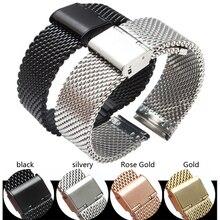 Métal Mesh Bracelet MILANIS Acier Inoxydable Tissé Montre Bande 18 20mm