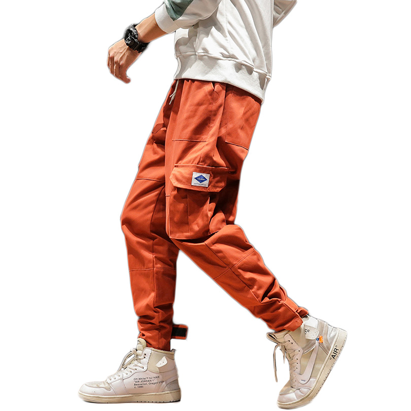 Spring Mens Cargo Pants Cotton Solid Fashion Joggers Trousers Black Orange Casual Many Pockets Ankle Banded Pants Male 5XL 2019