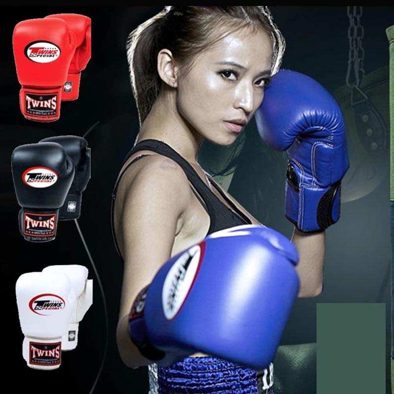 8OZ 10OZ 12OZ 14OZ Twins Kick Boxing Gloves Men Women Kids PU Leather Karate MMA Gloves Boxing Gloves Muay Thai S 10oz 12oz 14oz 16oz wholesale pretorian muay thai twins boxing red punching gloves tkd mma men fighting boxing gloves