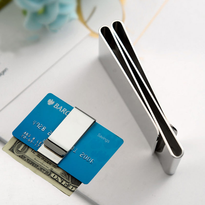 Multi Functional Office Clips Stainless Steel Silver Slim Money Clip Metal Credit Card ID Holder