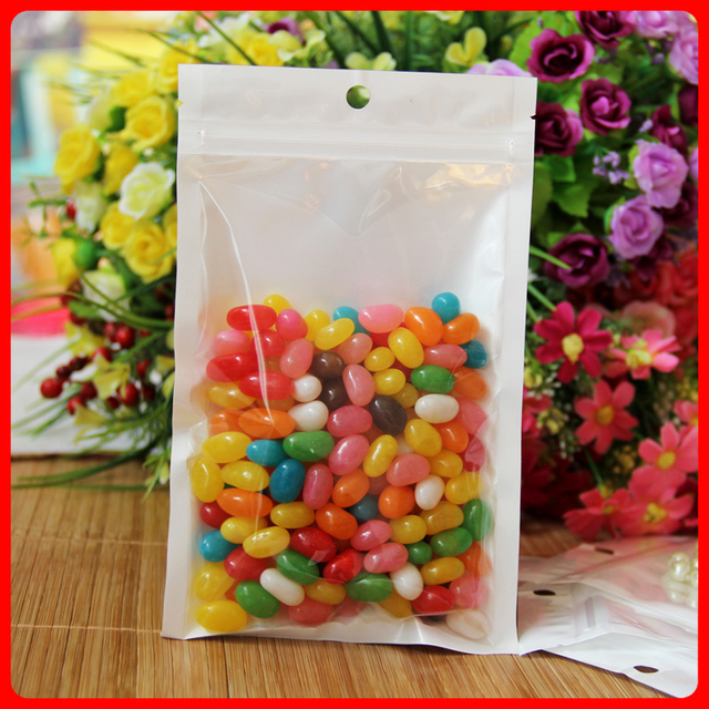 300pcs/lot 9cm*15cm*160mic Clear+White Retail Plastic BOPP Bag Packaging Bags With Hole On The Top Wholesale