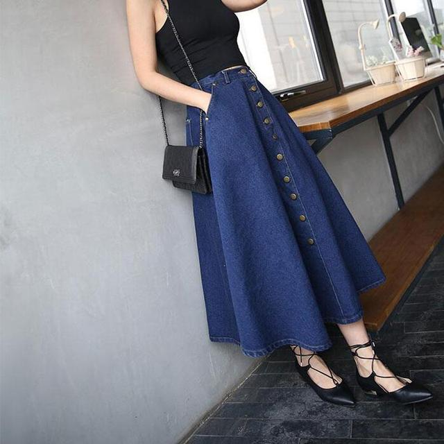 50bcbb5bf5 Button Front Long Skirt Jeans Saias A Line Casual Skirt With Pockets Women  Summer Style Jean