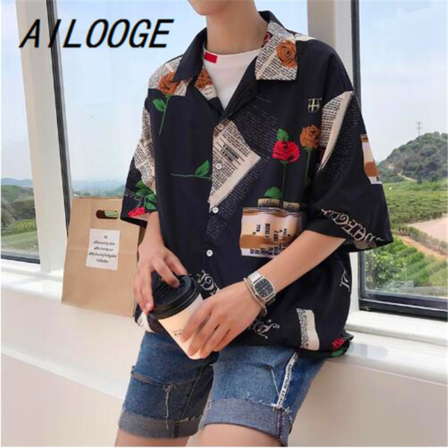 AILOOGE 2018 New Summer Men s Korean Version Of Loose Personality Printing  Fashion Trends BF Wind Half 8b132d3e4