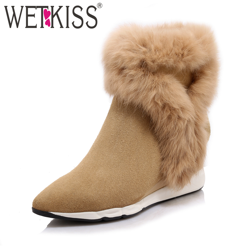 WETKISS 2018 Genuine Suede Leather Women's Boots Rabbit Fur Shoes Woman Pointed toe Ankle Boots Zipper Wedges Winter Footwear wetkiss big size 32 43 genuine leather pointed toe ankle boots women 2017 winter boots short plush keep warm wedges shoes woman