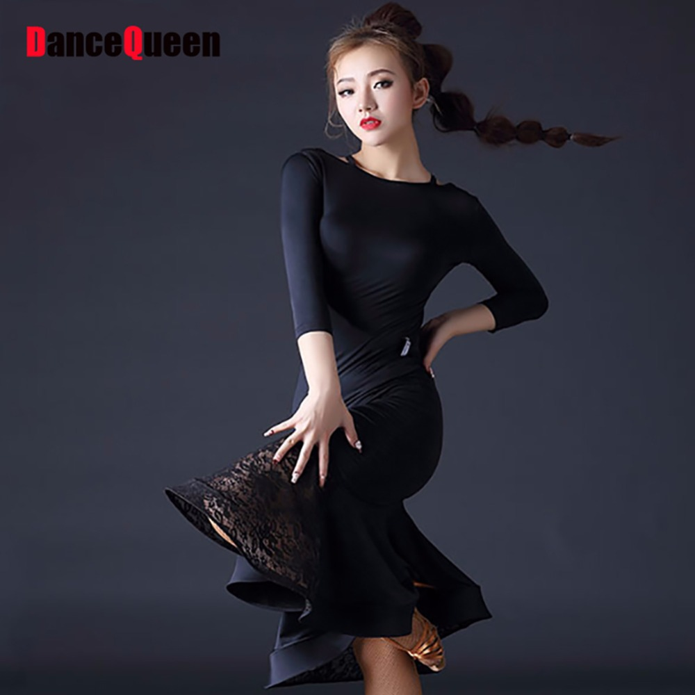Height Quality Latin Dance Dress For Ladies Black Lace Skirt Women Adult Beyonce -1777