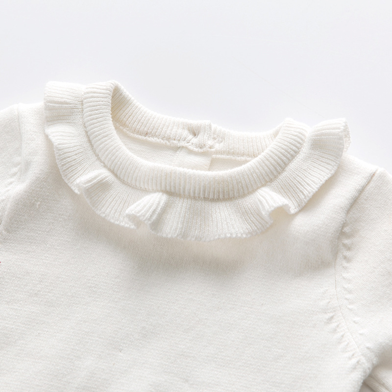 4Autumn Style Baby Girl Knitting Sweater Lotus Round Collar Knitting Kids Outfit Coat Cotton Soft Comfortable Pullover Cardigan Autumn